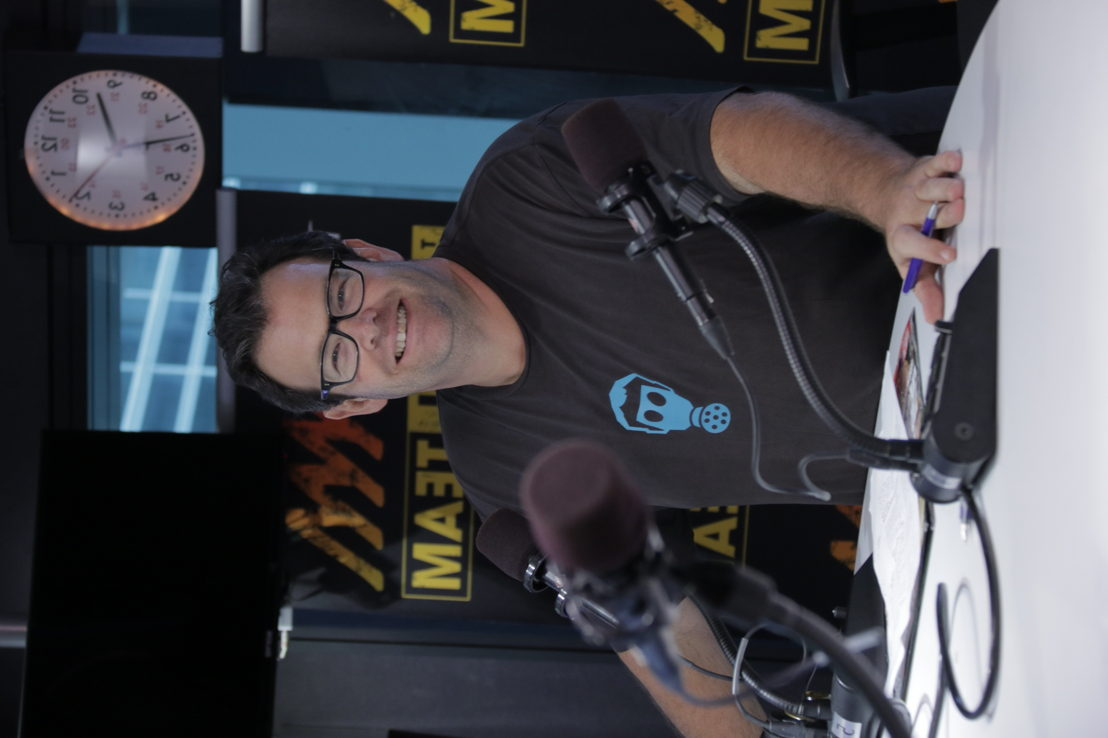 Radio presenter Gus Worland at work