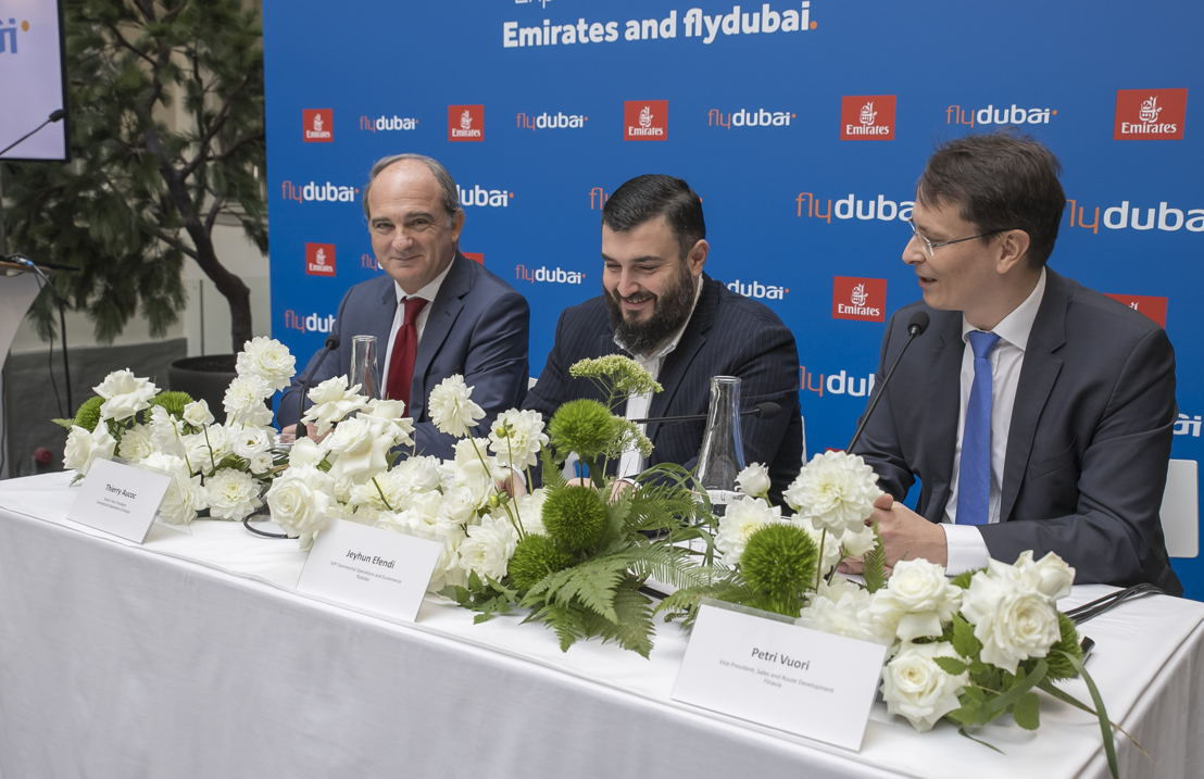 From Left to Right: Thierry Aucoc, Senior Vice President, Commercial (Europe & Russian Federation) at Emirates, Jeyhun Efendi, Senior Vice President, Commercial Operations and E-commerce at flydubai, Petri Vuori, Vice President at Finavia, Sales and Route Development