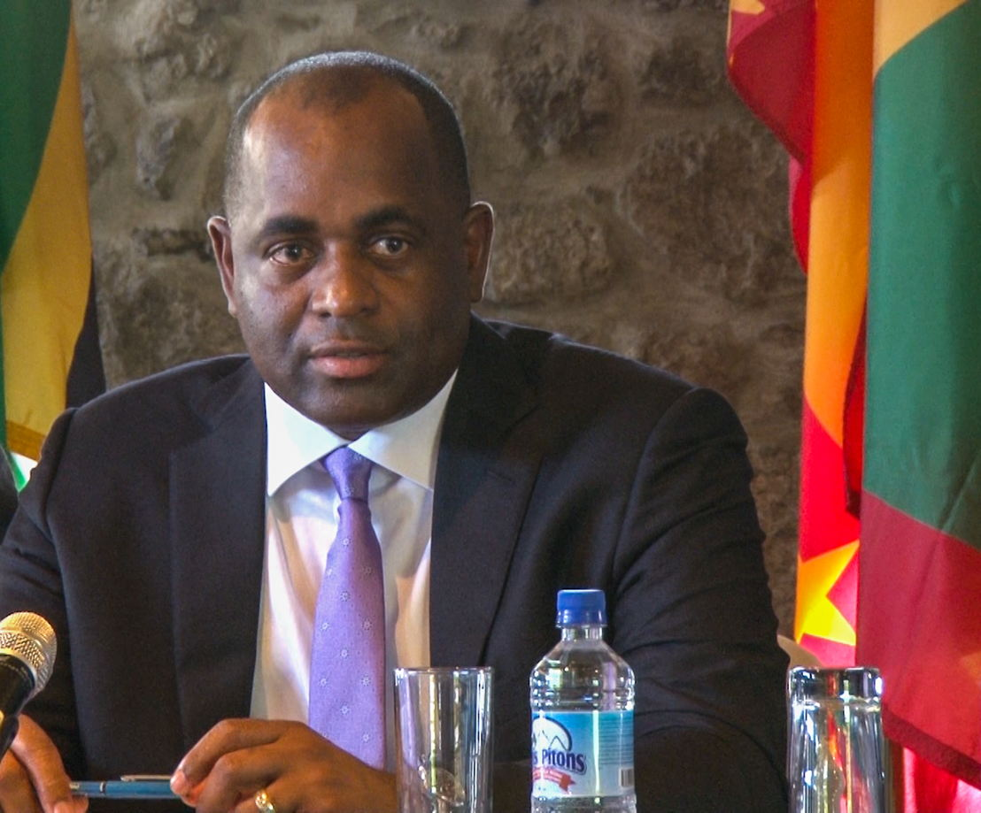 Council Chair, Hon Roosevelt Skerrit, Prime Minister and Minister for Finance, Commonwealth of Dominica, presenting Communiqué.