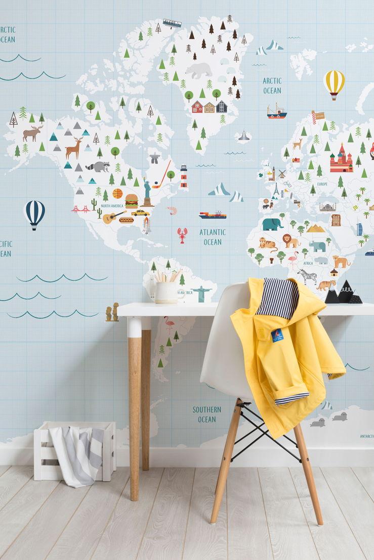 Graph Paper Blue Map Wall Mural