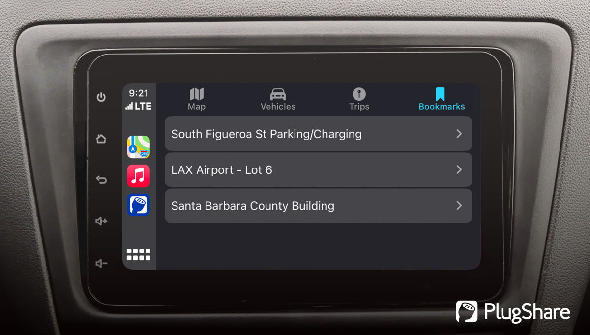 PlugShare users can bookmark favorite charging locations and view them on Apple CarPlay