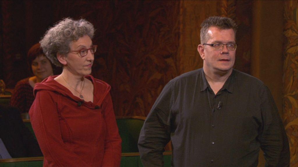 Het Groot Dictee - De Vlaamse finalisten Kristien Bonneure en Marco Sanders - (c) Men at Work / VRT