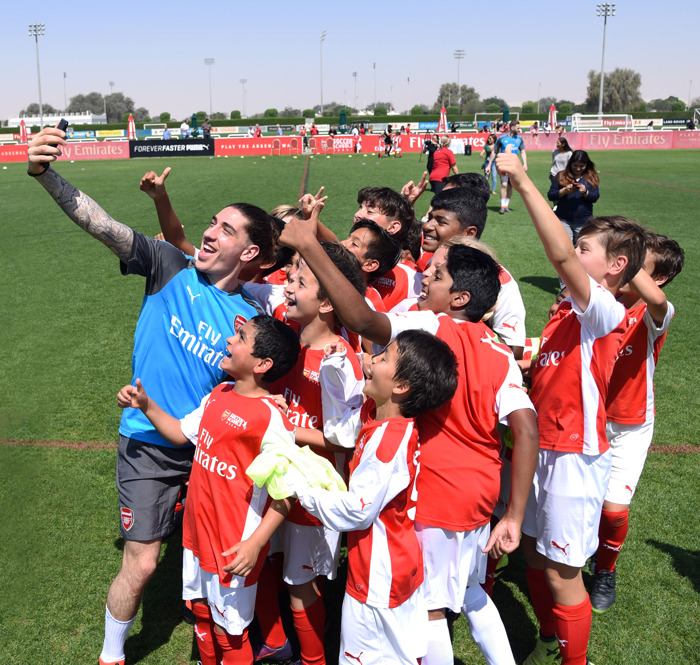 Arsenal Players put students through their paces at the Arsenal Soccer School Dubai