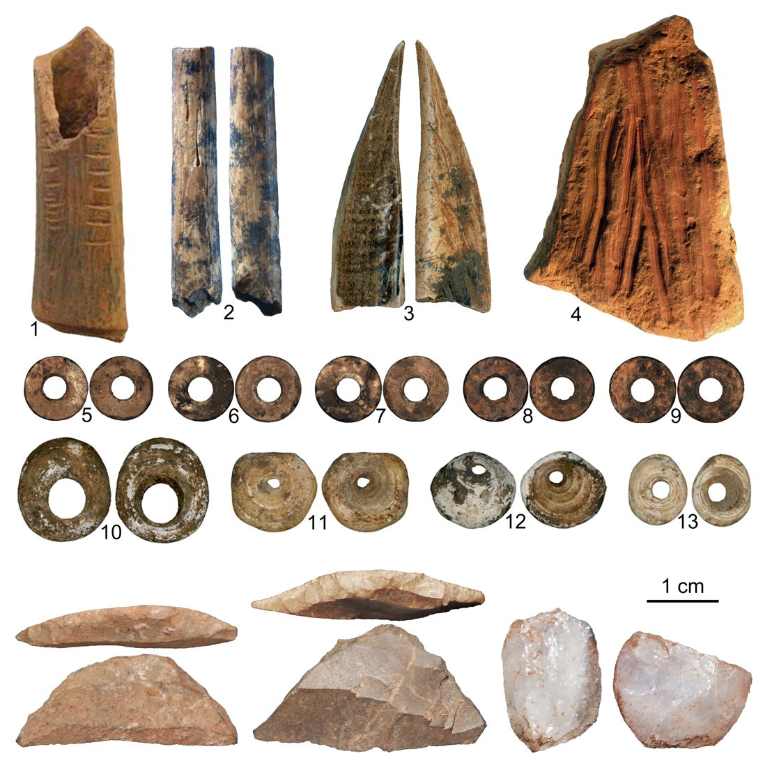 Items found in Panga ya Saidi cave.<br/>1. A decorated bone 2. A broken bone arrow point <br/>3. An awl made of tusk <br/>4. An ochre crayon.<br/>5-9. Ostrich egg shell beads, 10-13 are marine shell beads. Other items: miniaturized stone tools.  Credit Francesco d&#039;Errico and Africa Pitarch Marti.