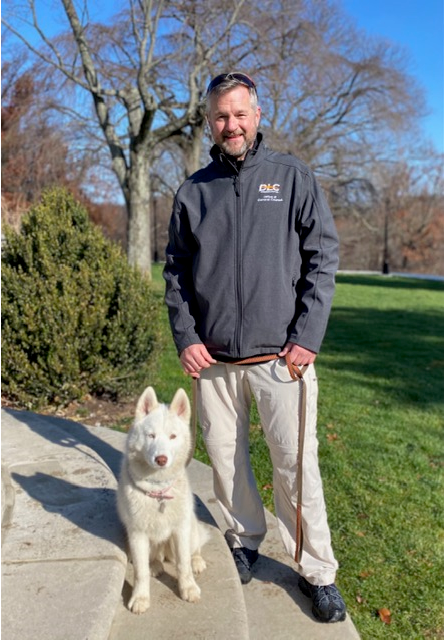 Mark Larson, senior counsel at DLC, participated in the virtual Heart Walk by walking his dog, Rhomby, at Hartwood Acres.