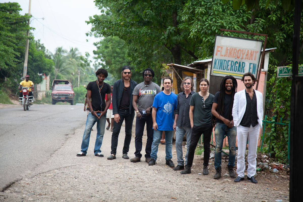 Left to right: Luckson Colobry, Jonathan Wilson, Habib Koite,  Raul Rodriguez,  Jackson Browne, Trevor Spencer, Paul Beaubrun and Jonathan Russell in Jacmel, Haiti . © David Belle