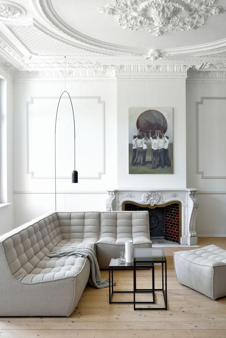 N701 sofa corner beige & 60077 Anders nesting side table