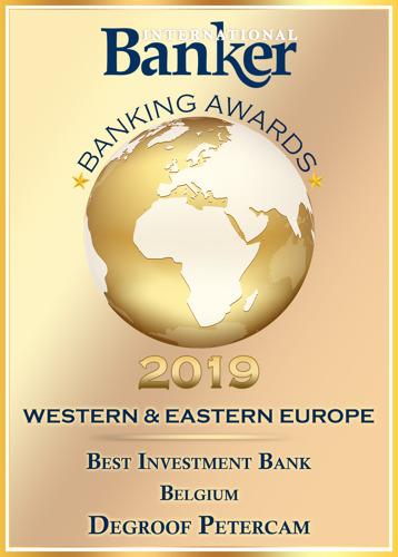 La revue International Banker nomme Degroof Petercam Meilleure banque d'investissement en Belgique