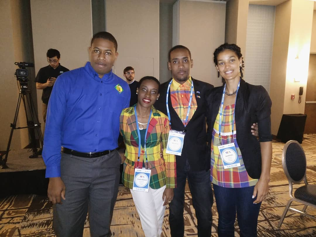 Johanan Dujon, Founder and Managing Director of Algas Organics in Saint Lucia with fellow colleagues from Saint Lucia attending the 2018 YLAI Launch event.