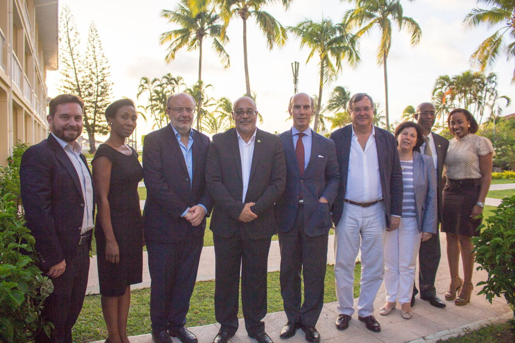 (L to R): Chargé d´Affairs of the Embassy of Spain in Saint Lucia, Jesús Lavalle, Ms. Bernadette Auguste, International Relations Officer, H.E. The Secretary of State for International Cooperation and Latin América, Fernando García-Casas, OECS Director General H.E. Dr. Didacus Jules, H.E. the Ambassador of Spain and Permanent Representative to the OECS, Javier Carbajosa, The Director General for Latin America, Antonio Pérez-Hernandez, H.E. Ambassador Anthony Severin, The Deputy Director for Central America and the Caribbean, Mar Fernández-Palacios and Program Officer Nadge Jn Baptise.