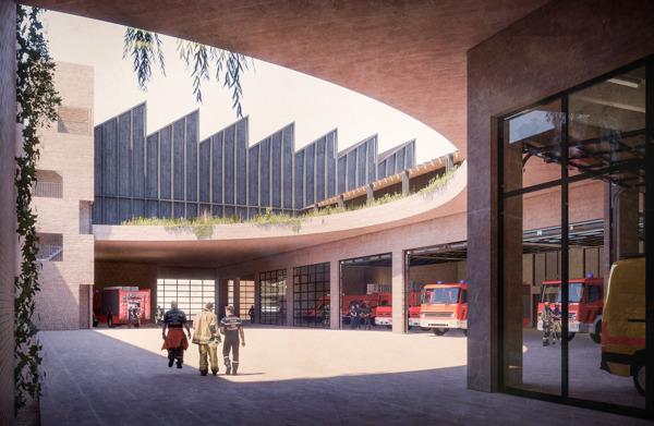 Preview: La Région bruxelloise dévoile la future caserne de pompiers avec salle de sports du quartier de Cureghem