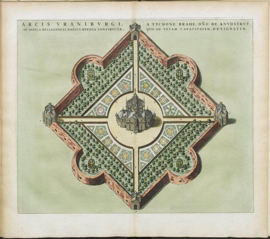 Gravure de l'observatoire d'Uraniborg dans l'île de Ven. Joannes Blaeu, Atlas maior, sive Cosmographia Blaviana, 1662-1665
