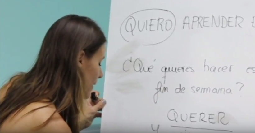 Spanish class in session.