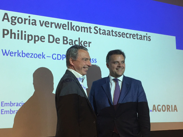 Marc Lambotte, CEO van Agoria en Philippe De Backer, staatssecretaris voor Privacy.