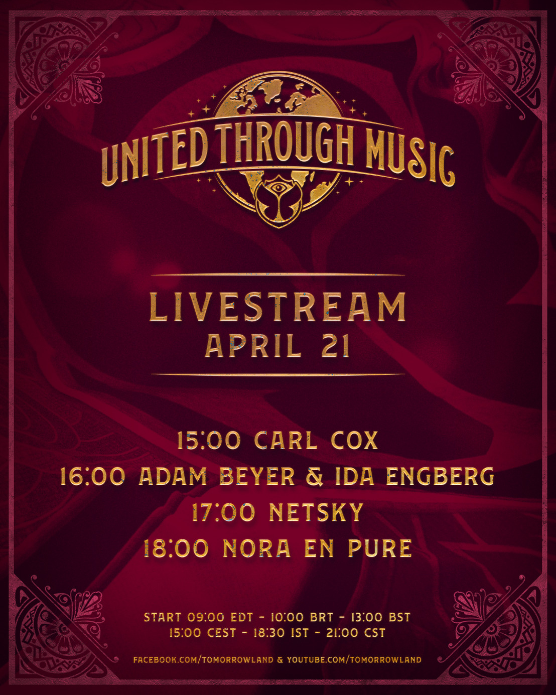 'Tomorrowland Presents: United Through Music' features special performances from Carl Cox, Adam Beyer & Ida Engberg, Nora En Pure and Netsky this week