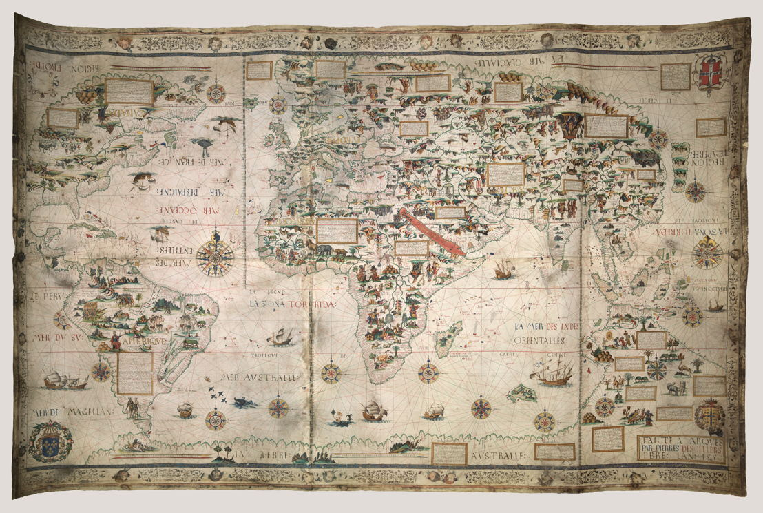 © Pierre Desceliers, Mappa Mundi (Map of the World), Dieppe, 1550. Londen, British Library.