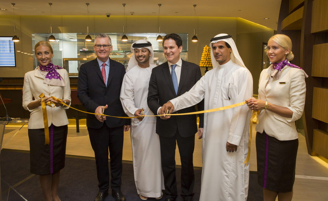 links: Shane O'Hare, Etihad Airways Senior Vice President Marketing; Mohammed Al Katheeri, Acting Chief Operations Officer of Abu Dhabi Airports; Peter Baumgartner, Etihad Airways Chief Executive Officer;  Khaled Almehairbi, Etihad Airways Senior Vice President Abu Dhabi Airport Operations