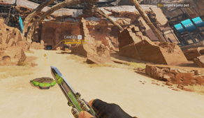 A player uses the Ping System in Apex Legends™ to let their team know of the placement of a Jump Pad.
