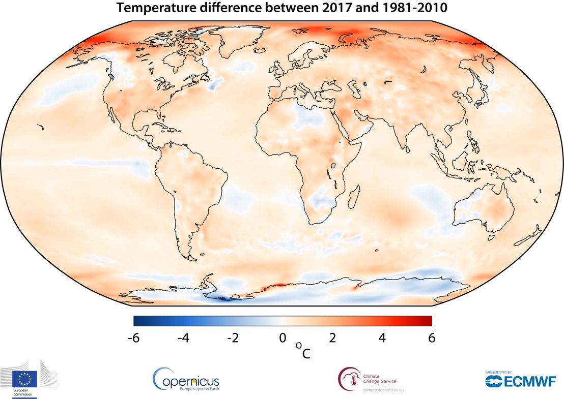 Air temperature at a height of two metres for 2017, shown relative to its 1981–2010 average. <br/>Source: Copernicus Climate Change Service, ECMWF