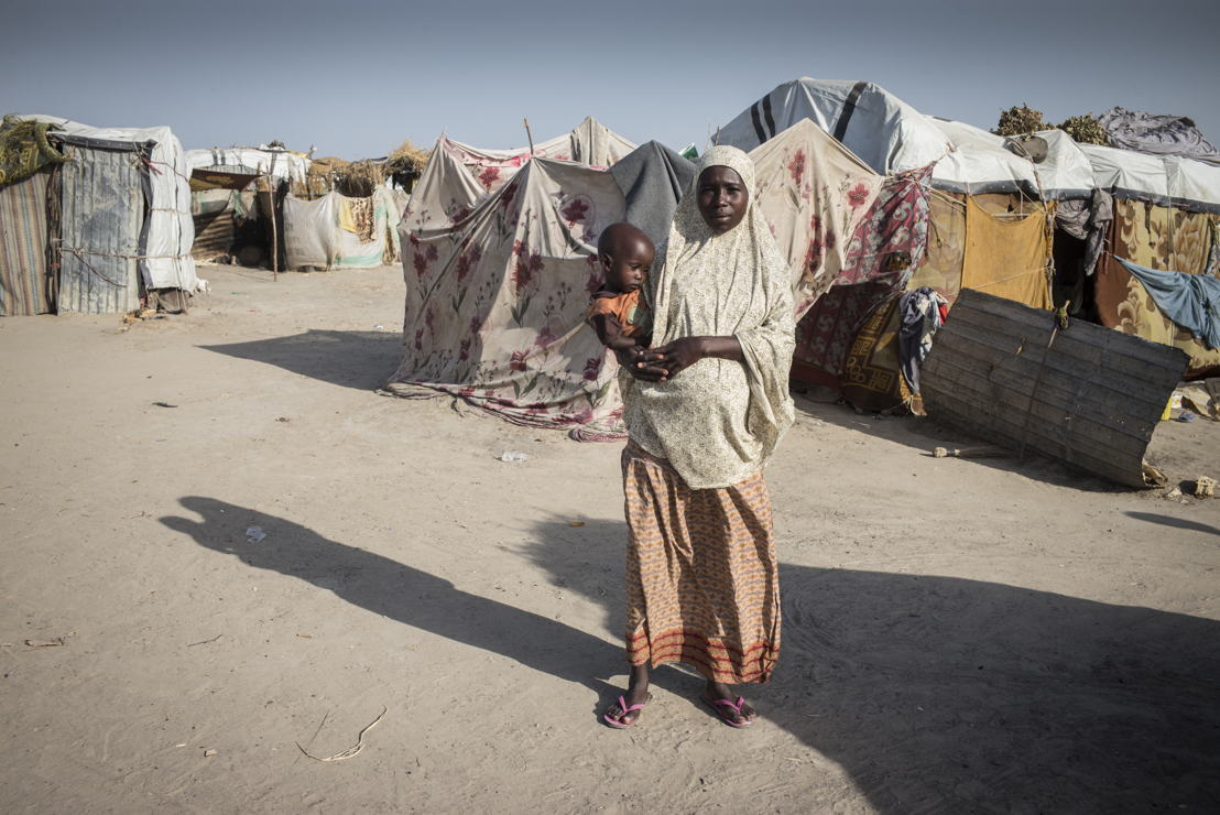 Mariam, 20m mother of two-year old Hussein.<br/><br/>&quot;Nine months ago, Boko Haram attacked my village, and I fled to the camp.&quot;<br/>&quot;The vigilance committee denounced my husband to the Nigerian army, they arrested him and asked for witnesses in his favor. But the captain was changed and the new one killed my husband without waiting for the witnesses. There are a lot of similar cases here. &quot; Photographer: Sylvain Cherkaoui