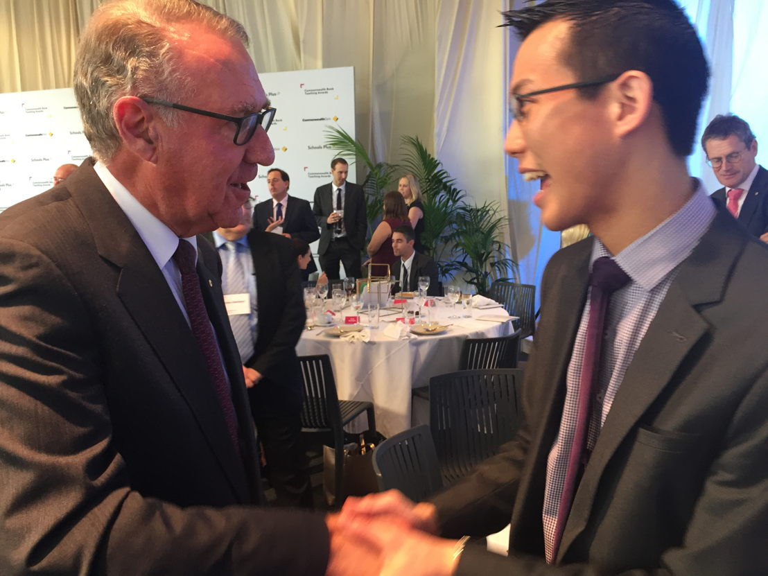 Eddie Woo and David Gonski, at the Commonwealth Bank Teaching Awards, 2017 photo: Rebecca Baillie, Australian Story