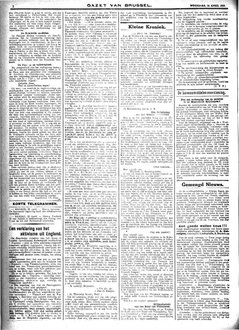 Gazet van Brussel, 24 april 1918