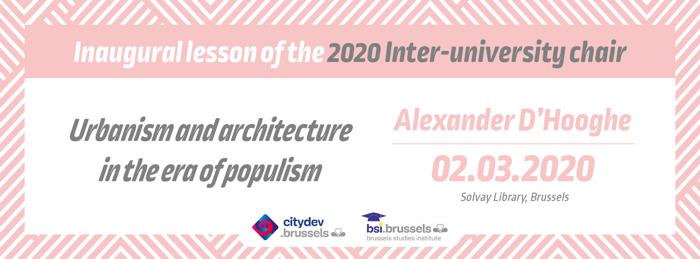 Uitnodiging – 2 maart 2020, 14.30 uur – Inaugurele rede leerstoel BSI-citydev.brussels