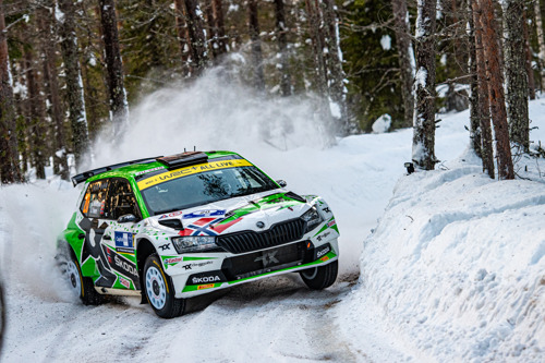 Arctic Rally Finland: ŠKODA Motorsport supported Andreas Mikkelsen advances to second in WRC2