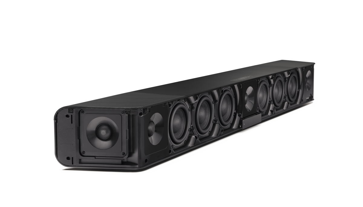 The AMBEO Soundbar – pictured here without its cover – provides immersive 5.1.4 sound without the need for a subwoofer. It enables broadcast mixers to critically evaluate their mixes on a premium product