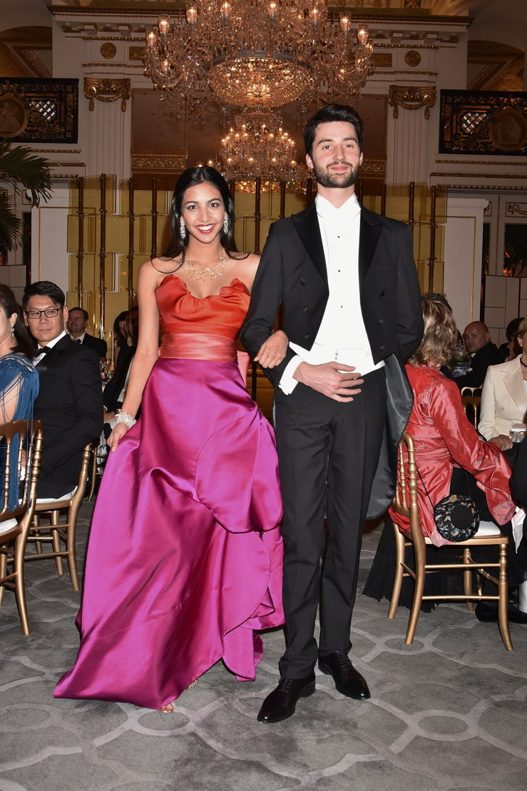 Jayati Modi (in Vivienne Westwood and jewelry by Payal New York) with her cavalier Romain Takeo Bouyer, Photo by Jean Luce Huré