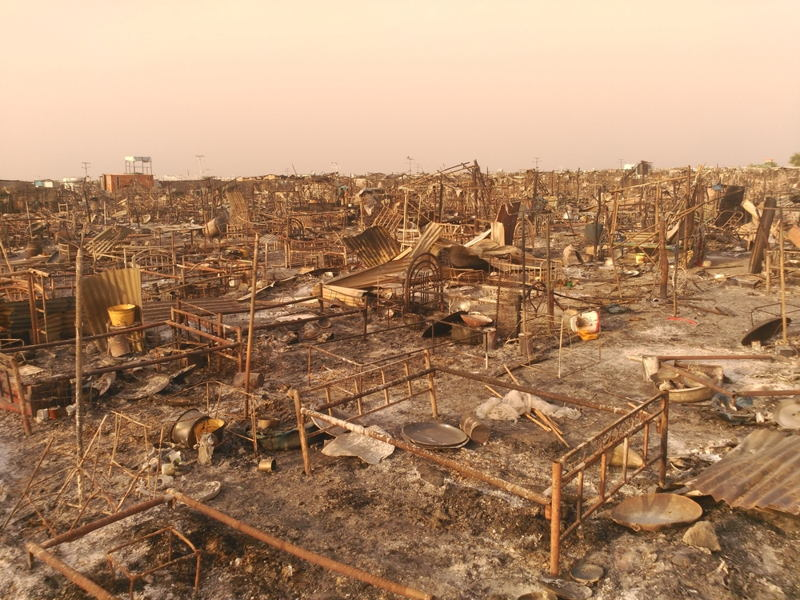 MSF teams in Malakal worked through the nights of 17 and 18 February to treat the injured after fighting erupted in the UN compound. Much of the compound was destroyed and 18 people were killed, including two South Sudanese MSF staff members. Photographer: MSF