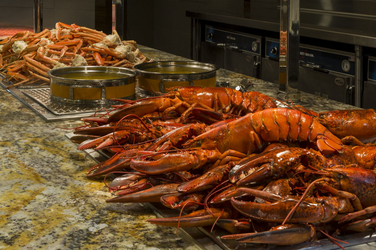 Crab legs and whole Maine lobster are part of Monarch Casino Resort Spa's buffet every day