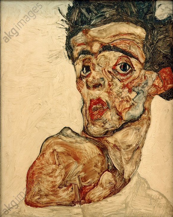 """Egon Schiele, """"Self-portrait with Chinese Lantern Fruit"""", 1909.<br/>Oil and body paint on wood, 32.2 × 39.8 cm. <br/>Leopold Museum, Vienna, Austria.<br/>AKG387084"""