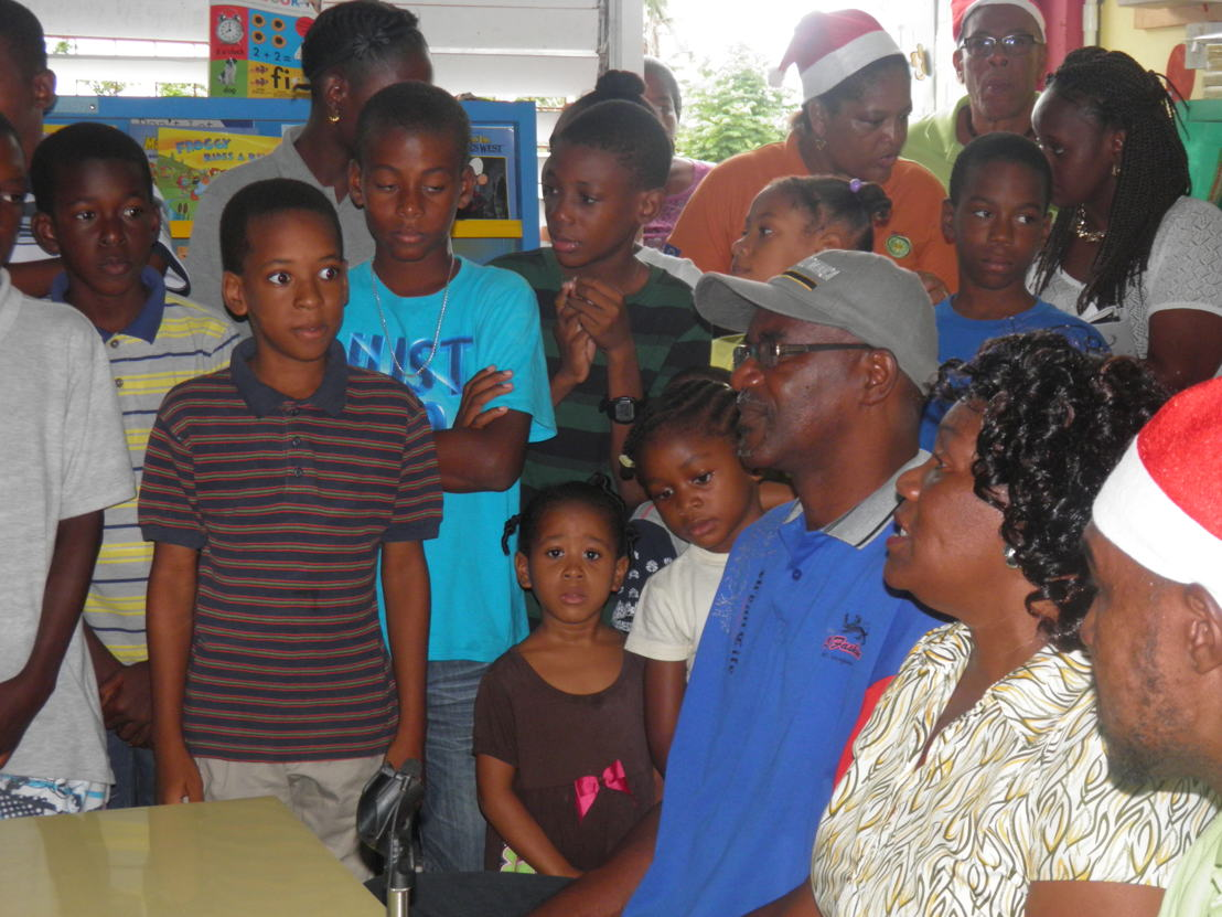 Schools students during the Toy Drive to Dominica.