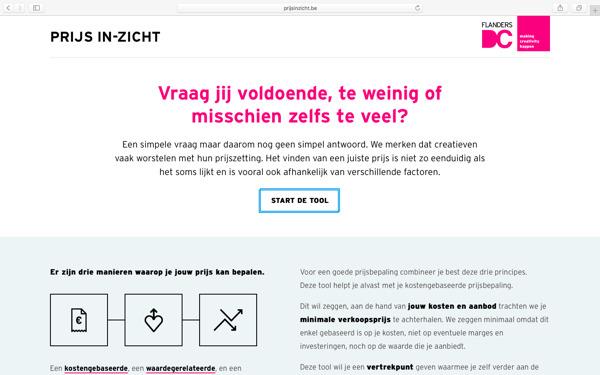 De homepage van prijsinzicht.be