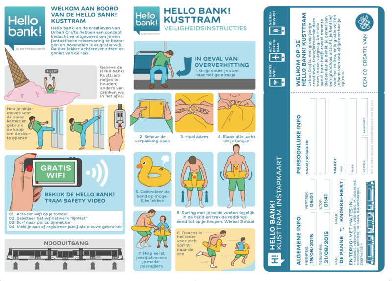 Herwerkte veiligheidsinstructies Kusttram (met wifi) - kant 1. Idee: Urban Crafts
