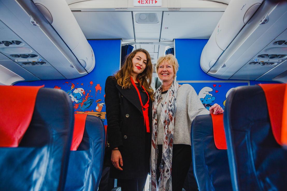 Marta Mascellani, designer Aerosmurf et Véronique Culliford, la fille de Peyo et la présidente et fondatrice d'IMPS