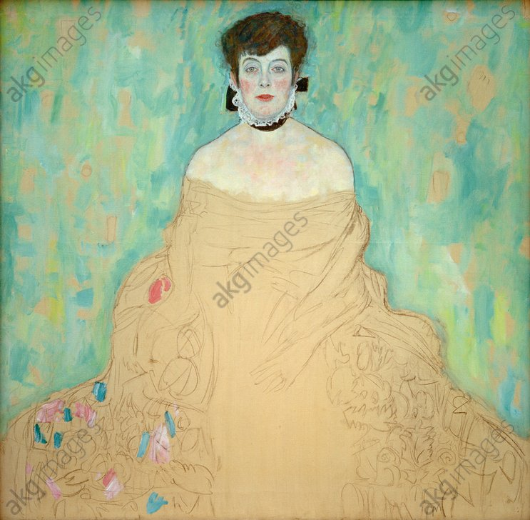 """Bildnis Amalie Zuckerkandl"", (Portrait of Amalie Zuckerkandl), 1917/1918.<br/><br/>Oil on canvas, unfinished, 128 × 128 cm.<br/>Inv. no.7700.<br/><br/>Belvedere, Vienna, Austria.<br/><br/>AKG2080422"
