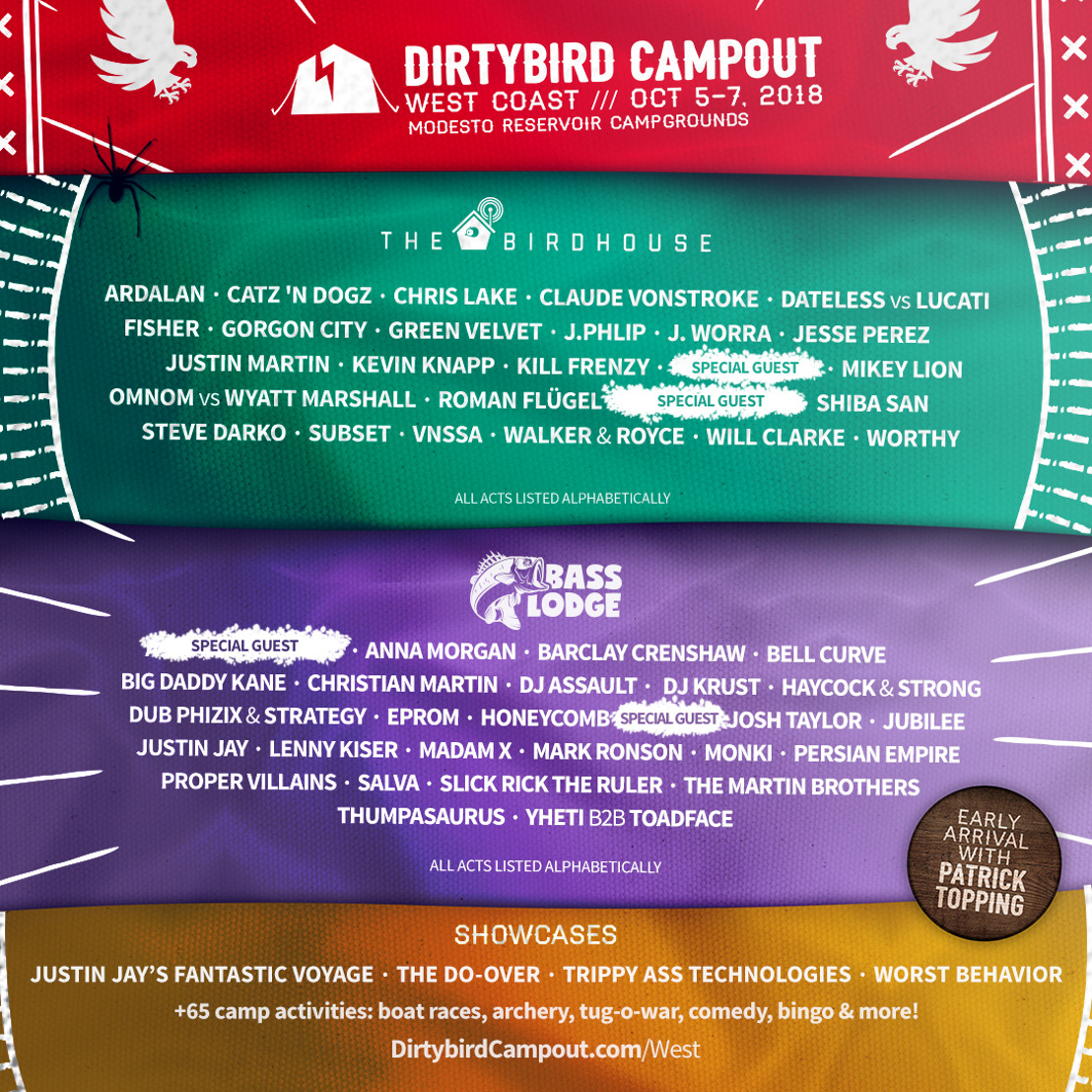 DIRTYBIRD Campout Releases Lineup for 2018 West Coast Event