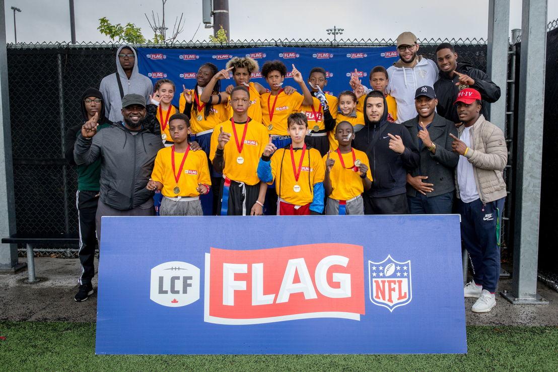 Les Béliers de Montréal-Nord ont remporté la première édition du tournoi régional de flag-football LCF/NFL de Montréal, présenté l'an dernier au Complexe sportif Claude-Robilllard. Crédit : Dominick Gravel / LCF.