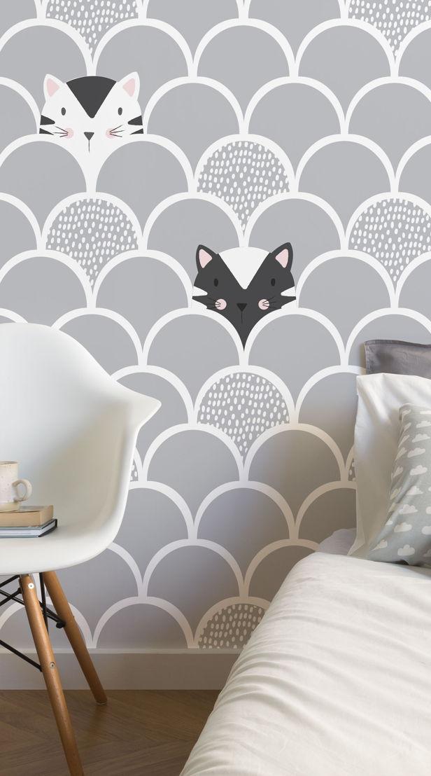 Kids Grey Pop Up Cats Wallpaper Mural