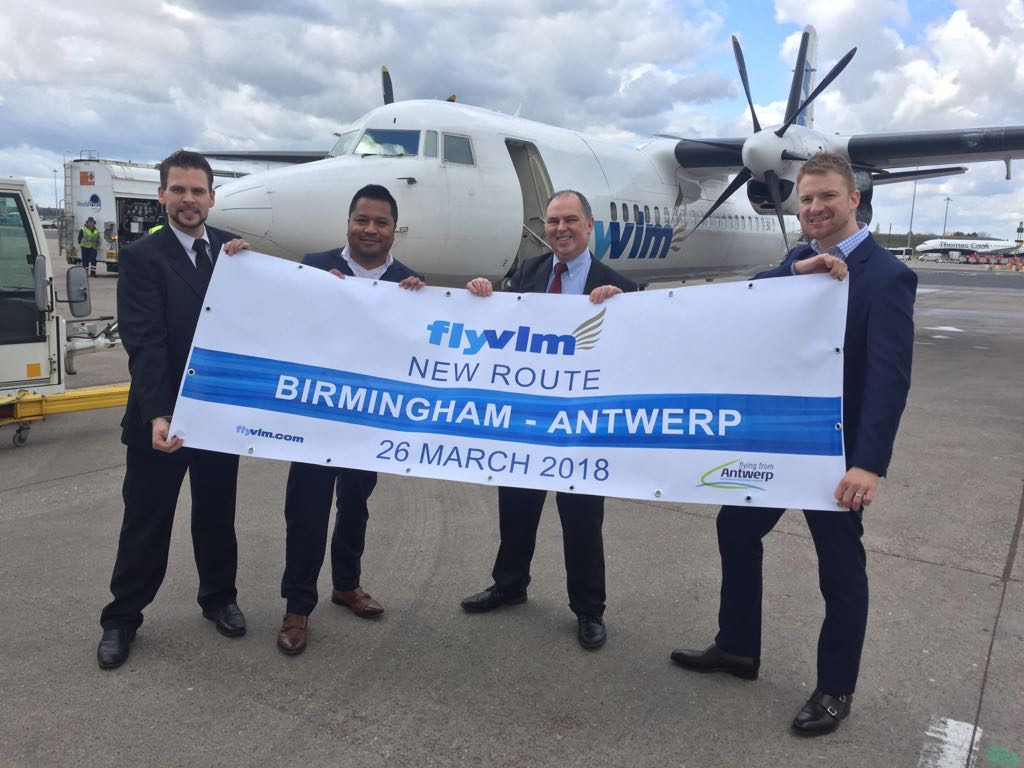 from left to right: Arno Visser, Marketing Manager VLM Airlines, Andrew Daines, Visit Flanders UK and Tom Screen, Acting Aviation Director Birmingham Airport
