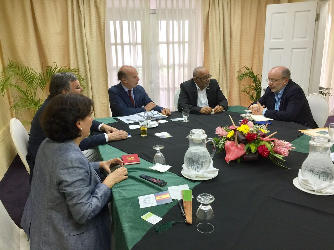 H.E. Dr. Didacus Jules, OECS Director General (second from right) with  H.E. Fernando García-Casas, Secretary of State for International Cooperation and Latin America