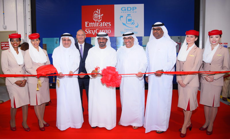 His Highness Sheikh Ahmed bin Saeed Al Maktoum, Chairman and Chief Executive of Emirates Airline and Group with dignitaries at the inauguration of Emirates SkyPharma.