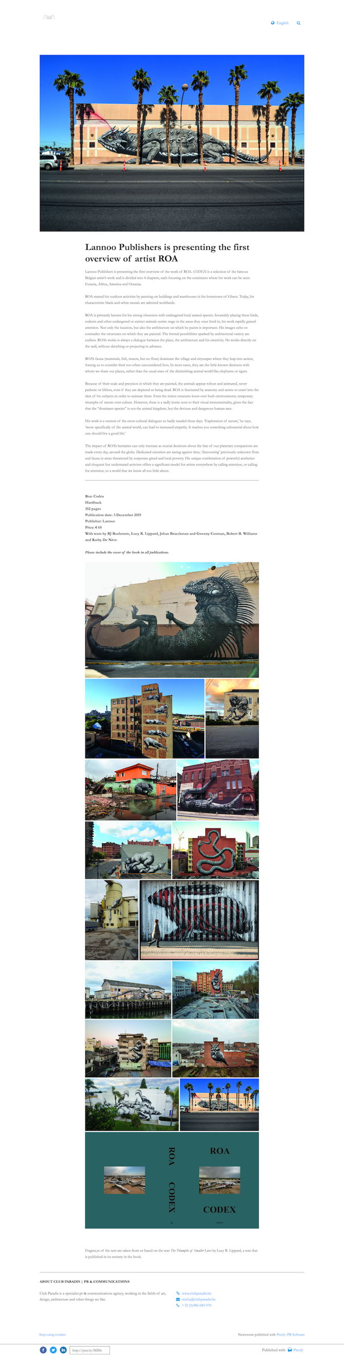 Lannoo Publishers is presenting the first overview of artist ROA