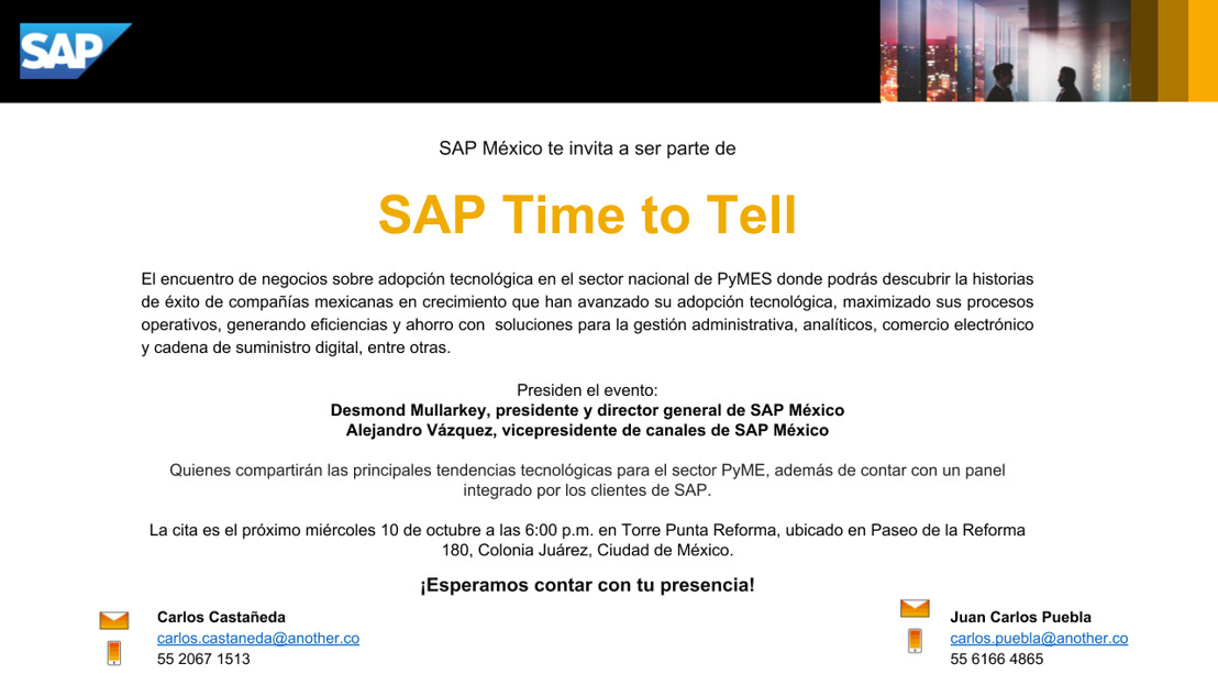 INVITACIÓN SAP TIME TO TELL