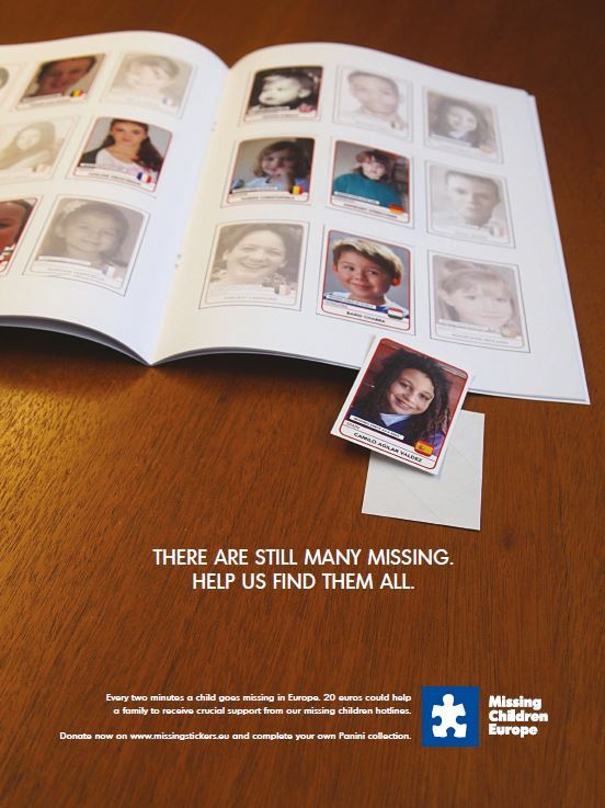 Preview: Leo Burnett Brussels helps you in your search for missing Panini-stickers,  if you help Missing Children Europe in their search for missing children.