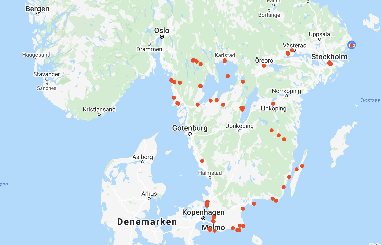 Total trip was about 500km. These are the hotspots