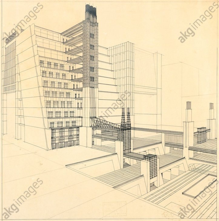 The New City (La Citta Nuova), buildings and steps with four street levels by Antonio Sant'Elia. Black ink on paper, 1914, private collection<br/>AKG1339347