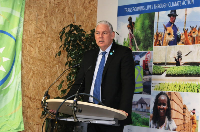 Prime Minister of Saint Lucia and Chairman of the OECS, Hon. Allen Chastanet, delivers remarks at the CARICOM-UNDP Side Event at COP23.